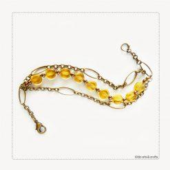 Amber Crystal Lentil Beads Bronze Chain Bracelet
