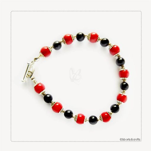 Black Onyx Red Coral Silver Plated Bracelet