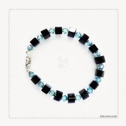 Blue Swarovsky crystals black cubes bracelet