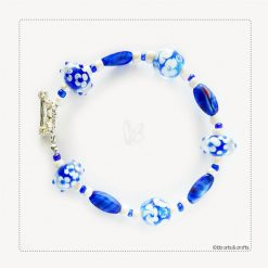 Blue and White Floral Glass Beaded Bracelet