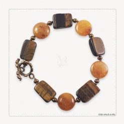 Tiger eye yellow jade beads bracelet