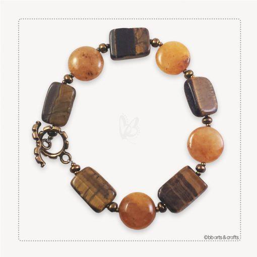 Tiger eye yellow jade beads bracelet