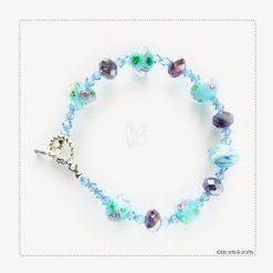 Floral Czech and Swarovski Crystals Bracelet