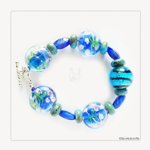 Blue Floral Lentil Glass Beaded Bracelet