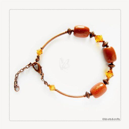 Gold Stone Nugget Amber Swarovski Crystals Copper Bracelet