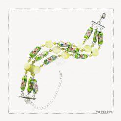 Green Chinese Cloisonne Swarovski Crystals Lentil Shell Bead Bracelet