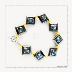 Hematite Czeck glass beads with yellow tigereye beads bracelet