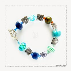 Green Blue Jasper Silver Plated Beaded Bracelet