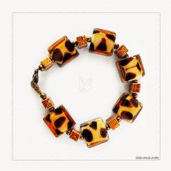 Leopard Glass Beads Copper Bracelet