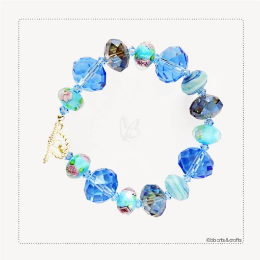 Faceted Floral Czech Beads Swarovski Crystals Bracelet