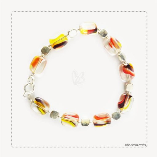 Orange Yellow Black Czech Transparent Glass Beads Silver Plated Bracelet
