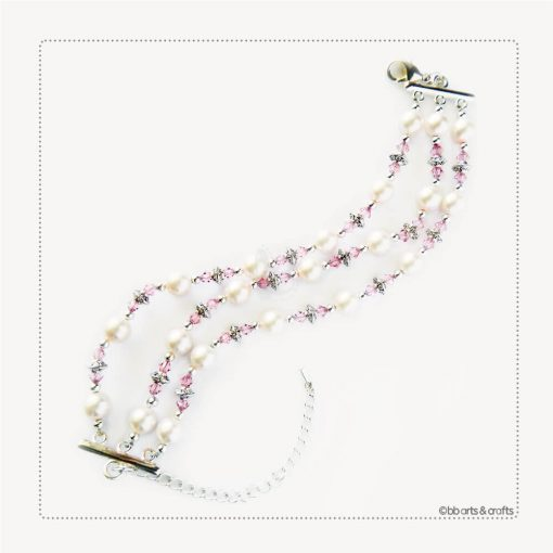 Pink Swarovski Crystal Pearl Bracelet