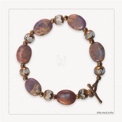 Purple Jasper Amethyst Czech Crystal Copper Bracelet