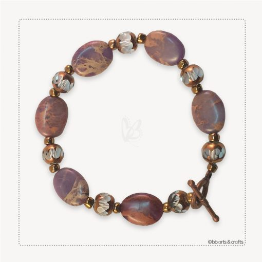 Purple Jasper Amethyst Czech Crystal Copper Bracelet