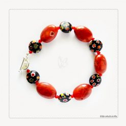 Red Agate Black Floral Pattern Glass Bracelet
