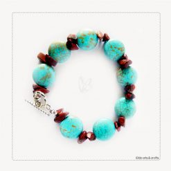 Red Coral Aquamarine Bracelet