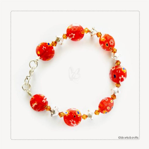 Swarovski Crystals Red Floral Glass Beaded Bracelet