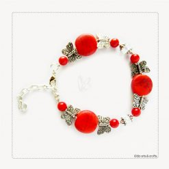 Silver Plated Butterflies Red Coral Beaded Bracelet