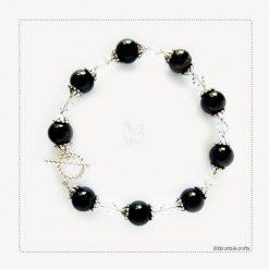 Swarovski Crystals Black Onyx Silver Plated Bracelet