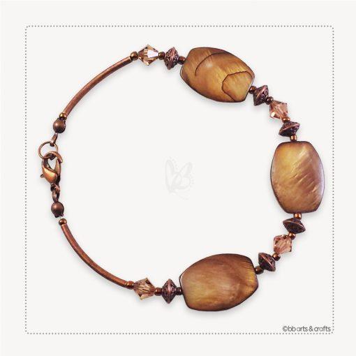 Tiger Eye Flat Bead Amber Swarovski Crystals Copper Bracelet