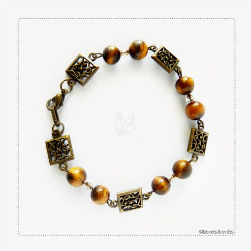 Tiger Eye Swarovski Crystals Antique Bronze Filigree Bracelet