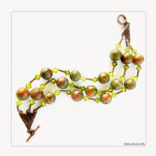 Unakite Swarovski Crystals Copper Bracelet