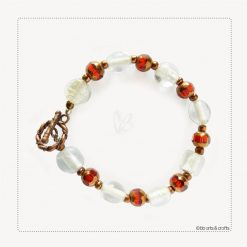 White Glass Beads Red Czech Copper Beaded Bracelet