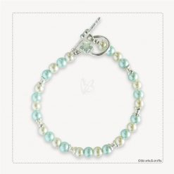 Baby blue and cream pearls bracelet