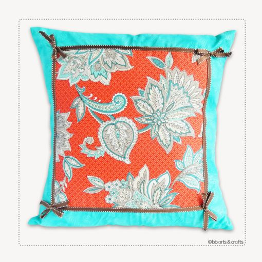 "Handmade Arabesque Floral Throw Pillow 18"" x 18"""