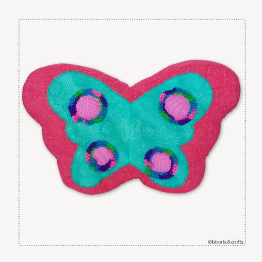 Decorative Aqua-Pink Patchwork Quilted Butterfly Pillow