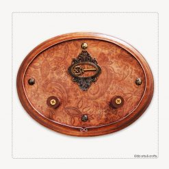 Oval steampunk wooden key holder