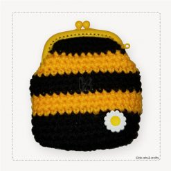 Crochet black and yellow stripped coin purse