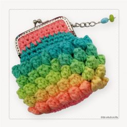 Croshet pastel multi-color coin purse