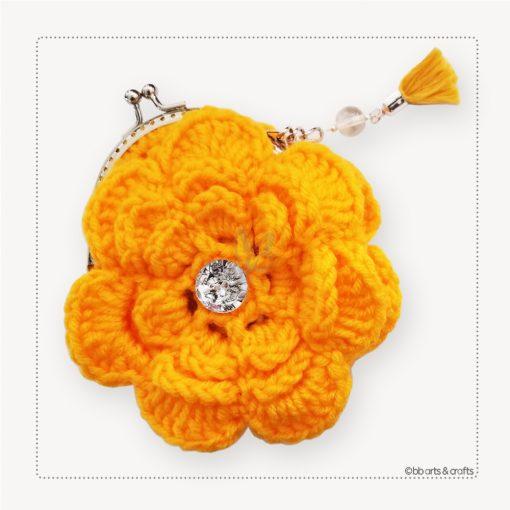 Crochet yellow flower coin purse