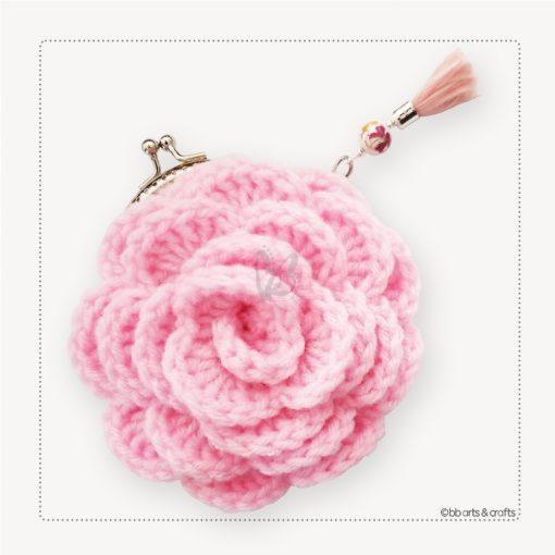 Crochet light pink rose coin purse